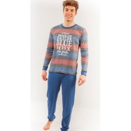 "2507 RUIPEREZ PIJAMA HOMBRE CUELLO REDONDO RAYITAS "" The brooklin sailor blue"" Foto 10704"